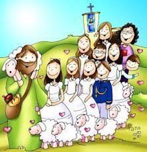 Dibujo de Fano de Jesús como Buen Pastor, seguido por las ovejas y los niños y niñas que toman la primera comunión